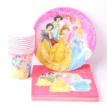 40pcs/lot Cartoon Princess Paper Plates+Cups+Napkins Disposable Cutlery Set festival Decorative Birthday Wedding Party Supplies(China)