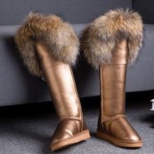 Luxury Winter Genuine Leather Snow Boots Natural Fox Fur Knee High Boots Waterproof Flat Heel Long Women Fur Boots Raccoon Fur