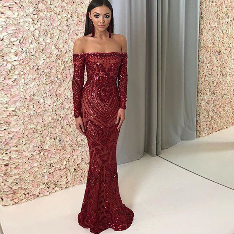 NEW Burgundy Geometric Sequin Party Dress Full Sleeved Off Shoulder Bodycon Maxi Dress Lining Back Zipper