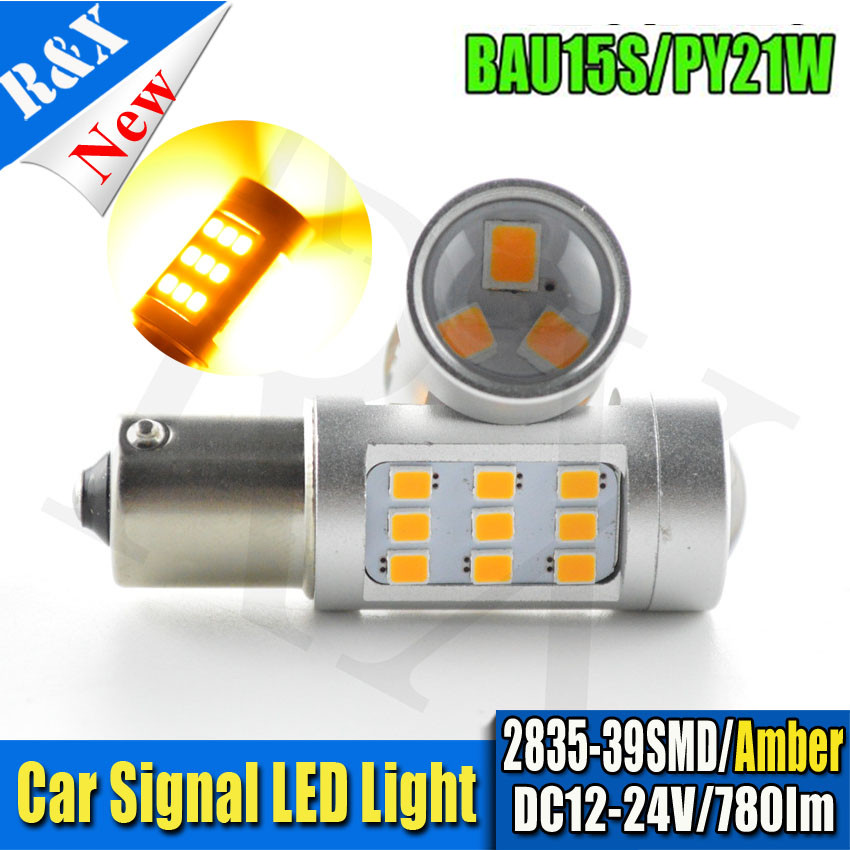 2 X BAU15S 1156 1157 BA15S BAY15D BAU15S CANBUS LED 39-SMD LED Lights Bulbs Turn Signal Lamp Amber Yellow 12V/24V ijdm amber yellow error free bau15s 7507 py21w 1156py xbd led bulbs for front turn signal lights bau15s led 12v