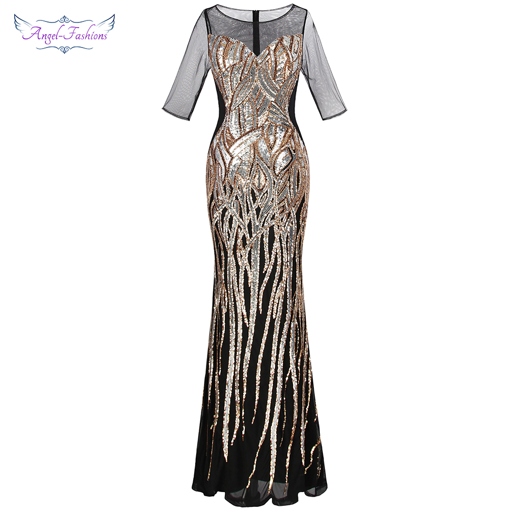 Angel-fashions Women's V Neck   Evening     Dresses   Golden Vintage Sequin Mermaid Ballkleid Party Gown 377 model 393