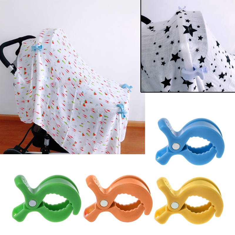 4 pcs Baby Car Seat Accessories Toy Lamp Pram Stroller Peg To Hook Cover Blanket Clips