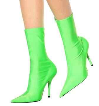 Çiçek Baskı Seksi Stiletto Çorap Kadın Patik Streç Sivri Burun Yüksek Topuklu yarım çizmeler Moda Botas Ayakkabı Kadın Büyük Boy 44