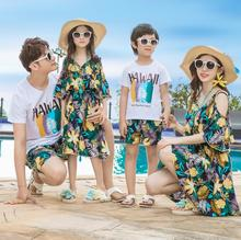 Hawaii Mother Daughter Dresses Family Matching Outfits Mommy and Me Clothes Father Son Clothing Sets Family Look Dress Summer недорого