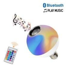 LED Bluetooth Speaker RGB+White Round Bulb 10W 110V-265V Wireless Remote Control Color Changing Music Light Sound