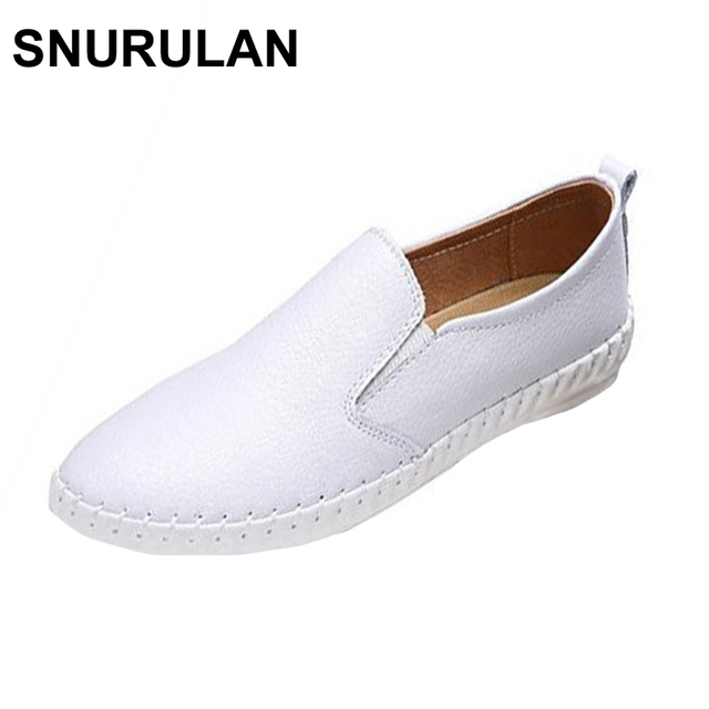 f264f810599 SNURULAN Leather Women Flat Shoes Casual Loafers New 2017 Slip-on Student  Lazy Shoe Spring Autumn Fashion Genuine Leather Loafer