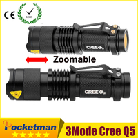 High Quality Mini Black CREE 2000LM Waterproof LED Flashlight 3 Modes Zoomable LED Torch Penlight Free
