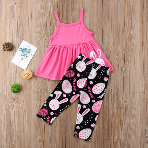 Summer Baby Girls Toddler Cartoon Rabbit Tops  Dress Pants Leggings Cotton Summer Children Girl Clothes