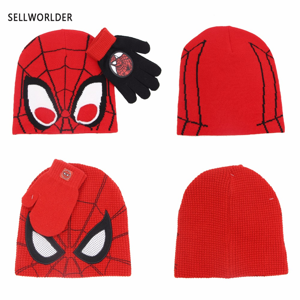SELLWORLDER 2018 2 Styles Kids  Winter Cartoon Character Spiderman 2pcs Hat & Glove Sets