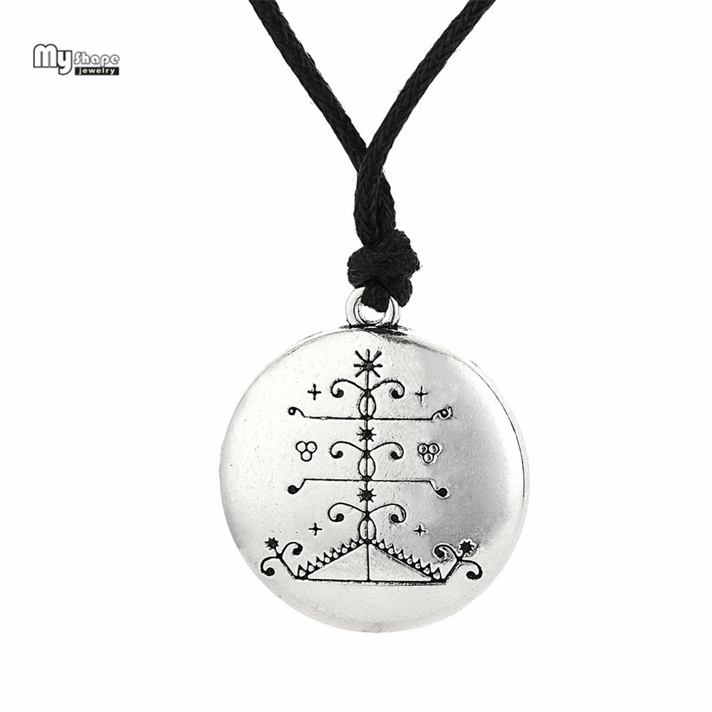 My Shape Ogou Feray Voodoo Statement Necklace Loa Veve Amulet Pendant Necklaces Vodoun Lwa Talisman Choker for Hoodoo Jewelry