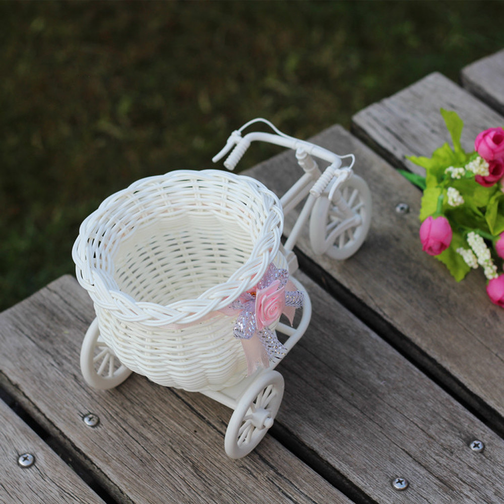 Hot sale New year Christmas Large Rattan Bike Flower Basket Vase Storage Party Decor christmas tree decorations home decor #