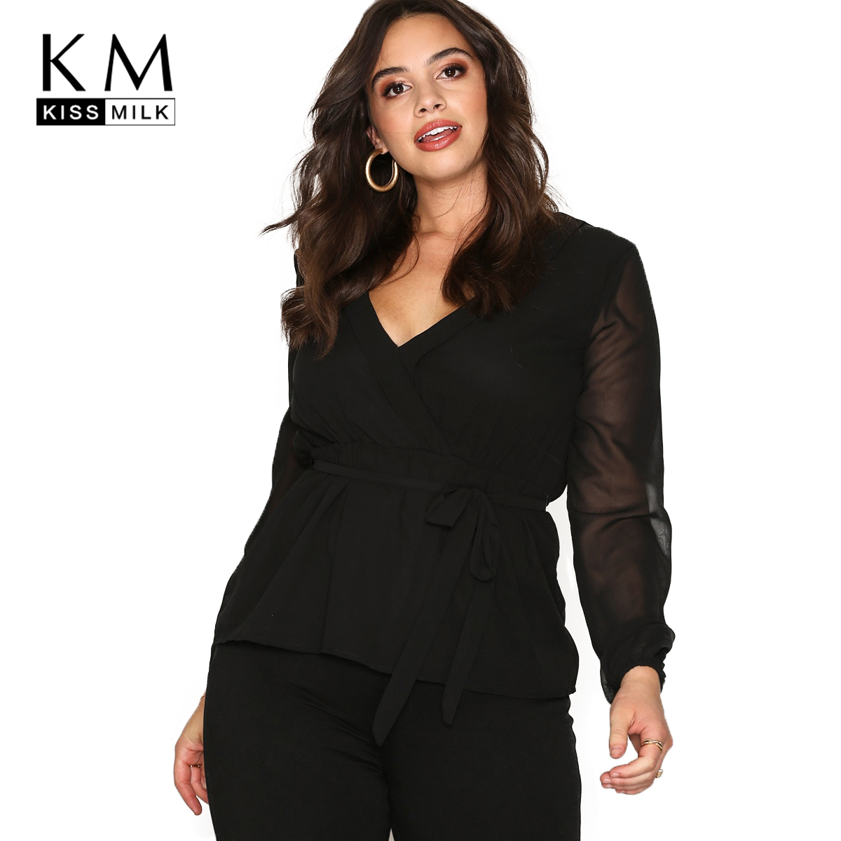Kissilk Plus Size Patchwork Chiffon Blouse Big Size Lace Up Long Sleeve V-Neck Female Large Size Lady Solid Women Clothing Блузка