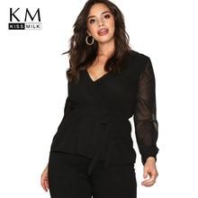 f3bbd4dee8602 Kissilk Plus Size Patchwork Chiffon Blouse Big Size Lace Up Long Sleeve  V-Neck Female Large Size Lady Solid Women Clothing
