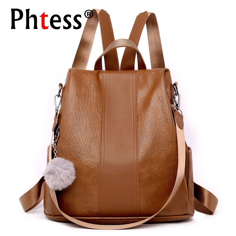 2019 Women Anti-theft Leather Backpack Vintage School Backpacks For Teenage Girls Sac A Dos Softback Mochilas Ladeis Back Pack