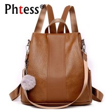 2019 Women Anti theft Leather Backpack Vintage School Backpacks For Teenage Girls Sac A Dos Softback Mochilas Ladeis Back Pack