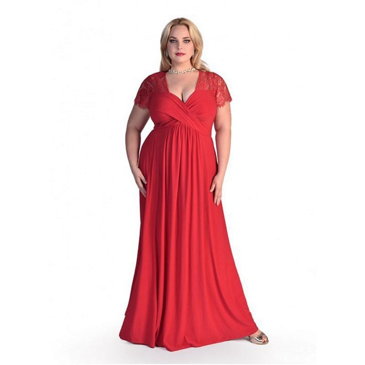 BacklakeGirls Plus Size 2019 Sexy V Neck Lace Decor Short Sleeves Satin Pretty Mother Of The Bride Dress Long For Wedding Party
