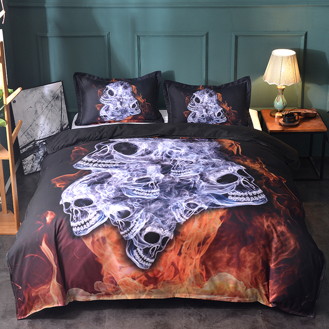 3D FLAME SKULL BEDDING SET (2 VARIAN)
