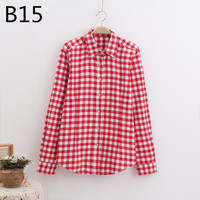 Wholesale 2018 New Long Sleeved Plaid Shirt LADIES COTTON Sanded Large Size Korean Women Shirt Wind