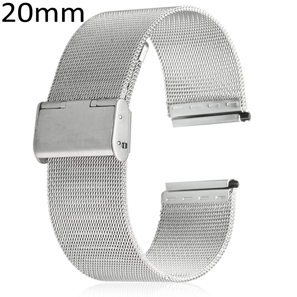 20mm Stainless Steel Mesh Bracelet Watch Band Replacement Strap for Men Women