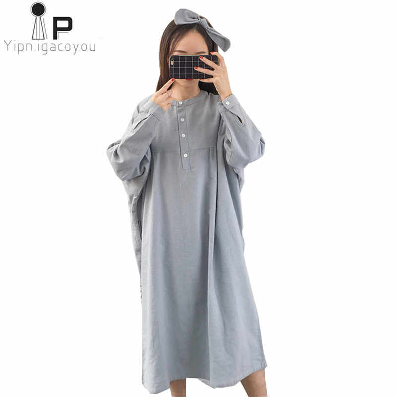 Womens nightgown 2019 Spring Summer New loose Cotton Sleepwear large size pure color Casual female nightie Long Sleepwear A113