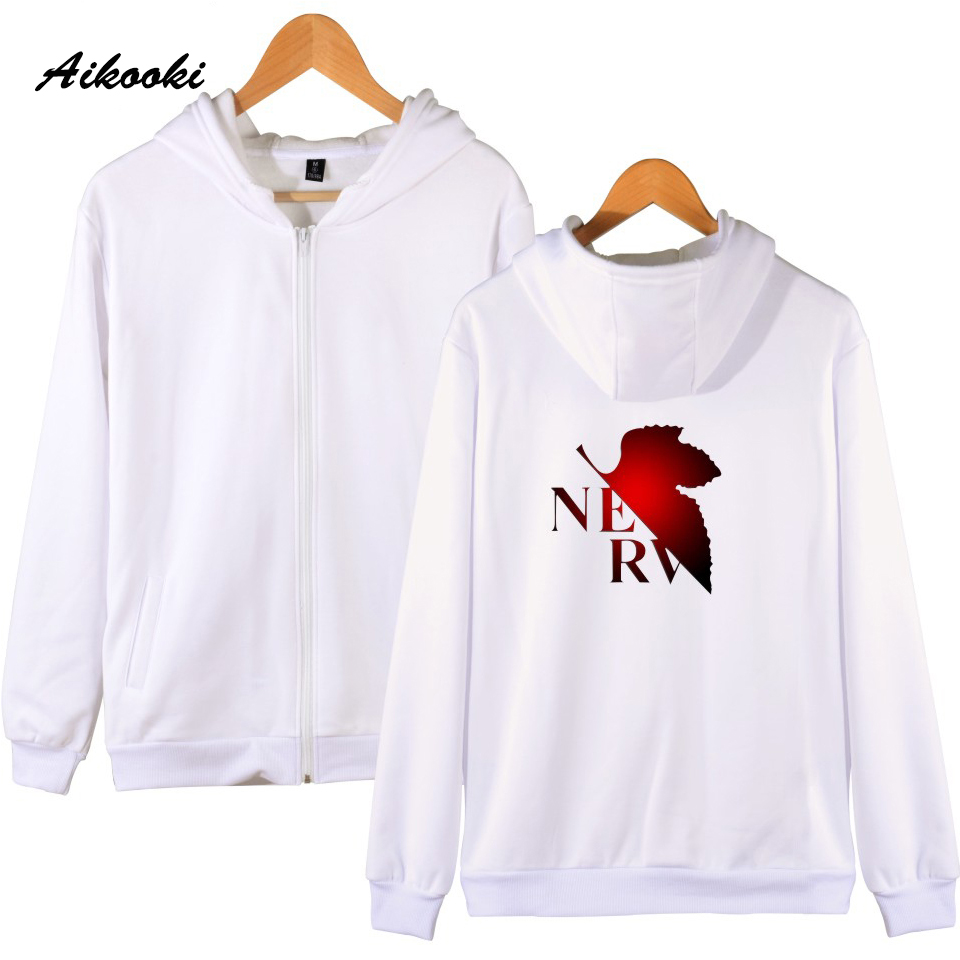 Beautiful Aikooki Men Women Anime Evangelion Zipper Hoodie Streetwear Cotton Neon Genesis Shape Cartoon Hoodies Zipper Male Female Clothes Strengthening Sinews And Bones Men's Clothing