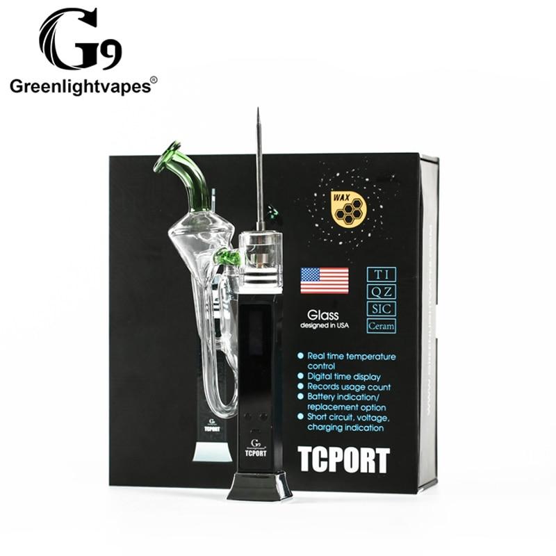 Greenlightvapes G9 TC PORT cire dab plate-forme huile Portable enail cire vaporisateur avec verre dab tuyau régulateur de température verre barboteur
