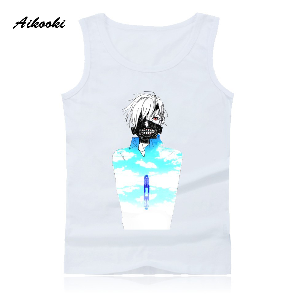 Aikooki Tokyo Ghoul Vest Men Women Popular Casual Sleeveless Cotton   Tank     Top   Hip Hop Summer Male Female Fashion Vest Print   Tops