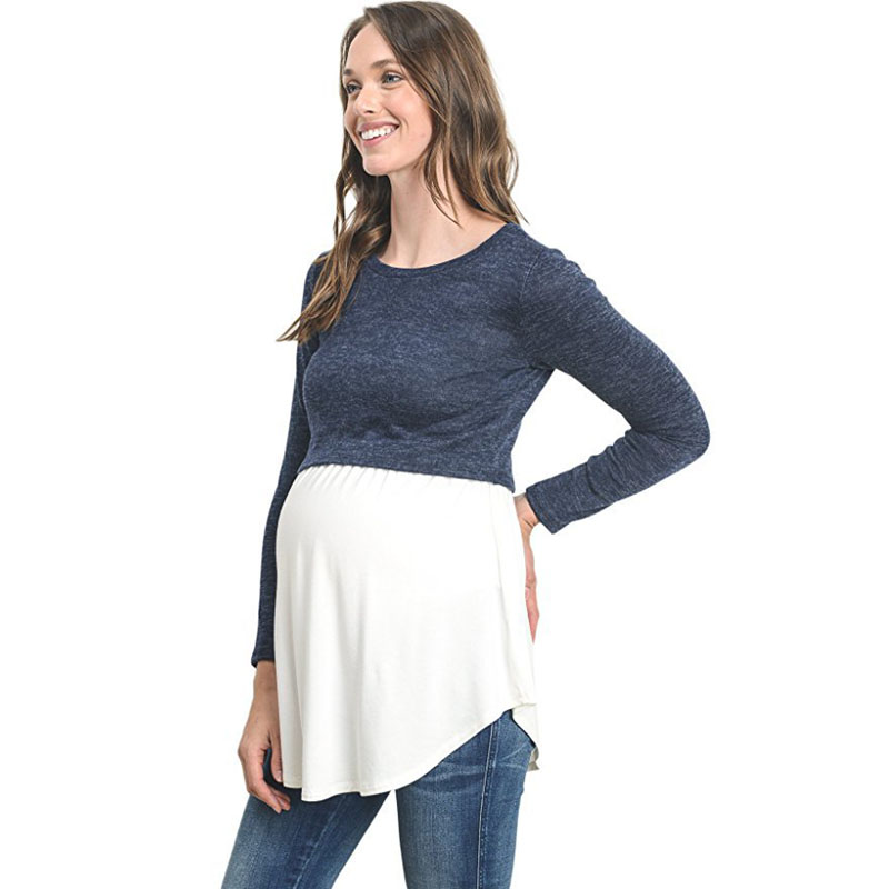 Spring Maternity Blouses Chiffon Patchwork Premama Clothes For Nursing Mothers Casual Nursing Tops Mom Breastfeeding Tee