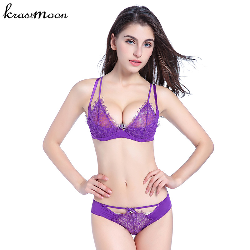 Sexy Lingerie   Set   Eyelash Ultra-thin   Bra     Brief     Sets   Push up   Bra   and Panties Female Underwear   bra     Set   Transparent Sexy   bra   BS31
