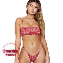 20b64982b9 2018 Sexy Women Bikini Set Pushup Retro Red Flower Print Bandeau Top Low  Waist Thong