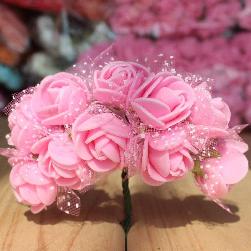 Искусственные цветы 2,5 см 12 шт. миниатюрная роза из пеноматериала сушеные цветы Букет Многоцветный Роза Свадебная вечеринка Цветок украшения дропшиппинг