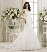 Free Shipping Gorgeous Fishtail Handmade Corset Bodice Sweep Train High Neck Wedding Dresses With Appliques WX11641