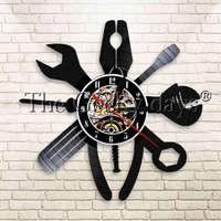 1Piece Mechanic Service Repair Garage Tools Modern Wall   Clock   Car Service Salon Wall Watch Decor Vinyl Record Wall   Clock