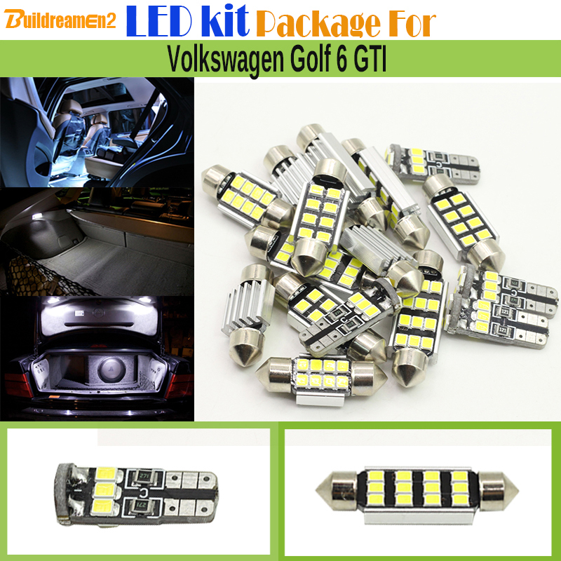 Buildreamen2 10 x Car Canbus LED Kit Package 2835 SMD Interior LED Bulb White Dome Map Trunk Light For VW Volkswagen Golf 6 GTI for volkswagen passat b6 b7 b8 led interior boot trunk luggage compartment light bulb