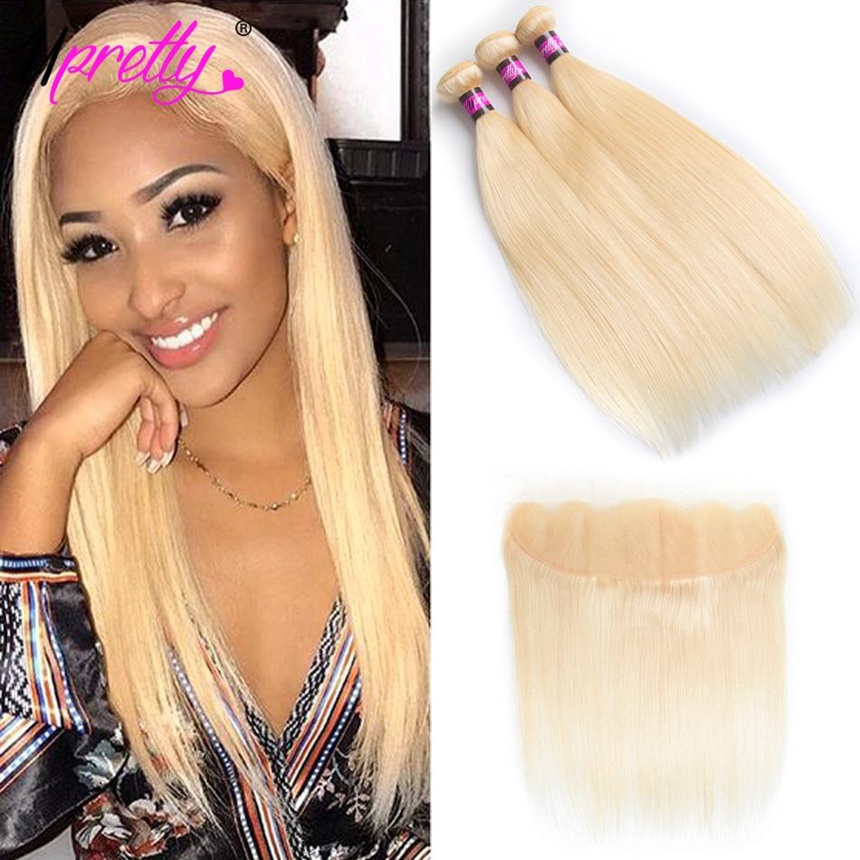 Upretty перуанский волосы светлые Комплект s с закрытием прямой человеческих волос 3 Комплект с кружевом фронтальной 613 блондинка Комплект s с ф...