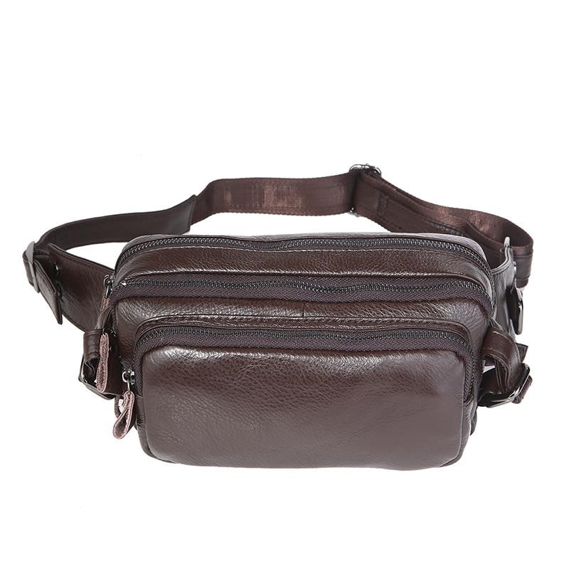 J.M.DCoffee Vintage Leather Multifunction Fanny Pack Mens Waist Bag 7353QJ.M.DCoffee Vintage Leather Multifunction Fanny Pack Mens Waist Bag 7353Q