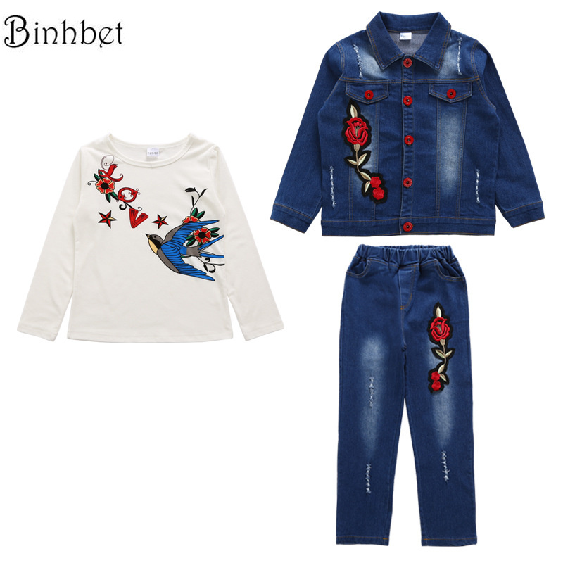 Binhbet New Children Clothing Sets Girls Sport Suit Tracksuit for Long Sleeve Denim Jacket Costume for Kids 4 -10Years Old