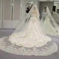 2016 Elegant 3 3 Meters White Ivory Appliqued Mantilla Bridal Veil Wedding Veil Long With Comb