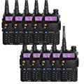 10 pcs baofeng uv-5r two way radio preto presunto amador walkie talkie dual band vhf/uhf 136-174/400-520 mhz