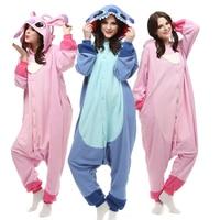 2018 Women Onesies Cartoon Stitch kigurumi Blue & Pink Stitch Cosplay Hooded Sleepwear Winter Unisex Pajamas Halloween Costumes