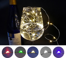 10pcs/lot Micro Led Fairy Lights CR2032 Button Battery Operated 2M 20 LEDS Copper LED String Light for Xmas Wedding Decoration