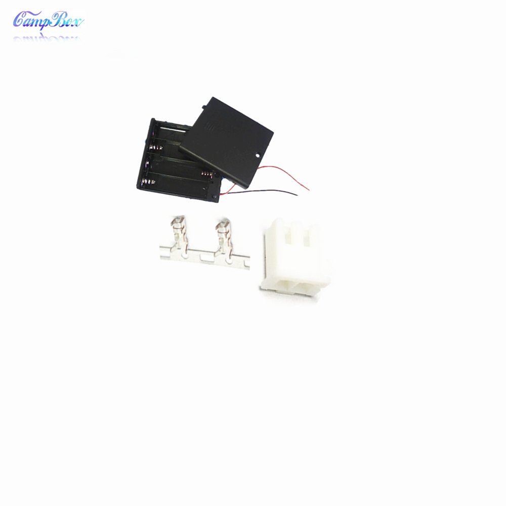 50Pcs 4xAAA Battery Case Holder Socket Wire Junction Boxes With Wires Switch Cover XH 2 54