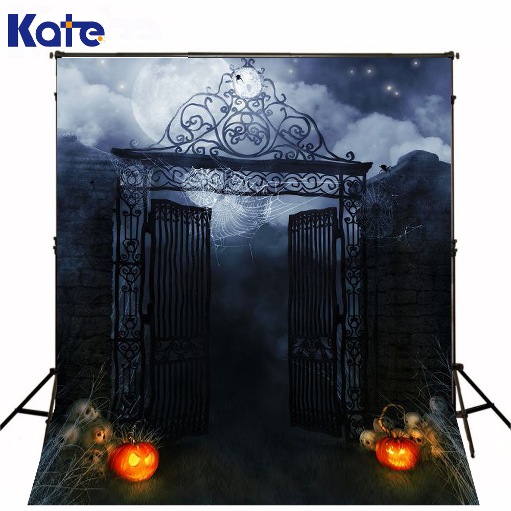 Kate Halloween Photo Backdrops Studio Walls Iron Pumpkins Full Moon Night Halloween Background For Children Backdrop allenjoy background for photo studio full moon spider black cat pumpkin halloween backdrop newborn original design fantasy props