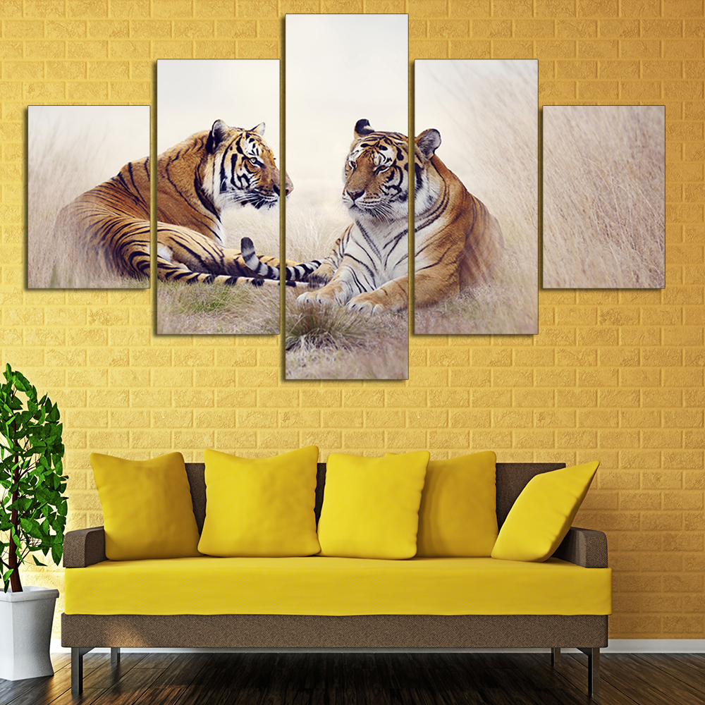 Unframed 5 Panels Two Big tigers In Forest Canvas Print Home ...
