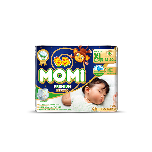 Premium Night подгузники-трусики MOMI XL ( 12-20 кг), 22 шт.