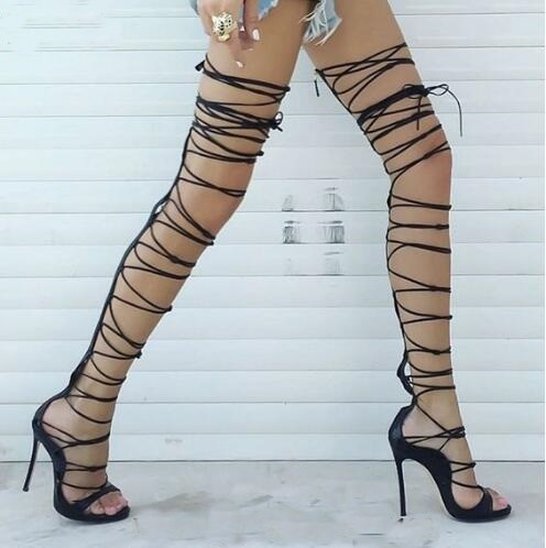 Gold Black Thigh High Sandals Sexy Cut Outs Long Gladiator Boots Rihanna Style Platform Lace Up High Heels Boots Woman