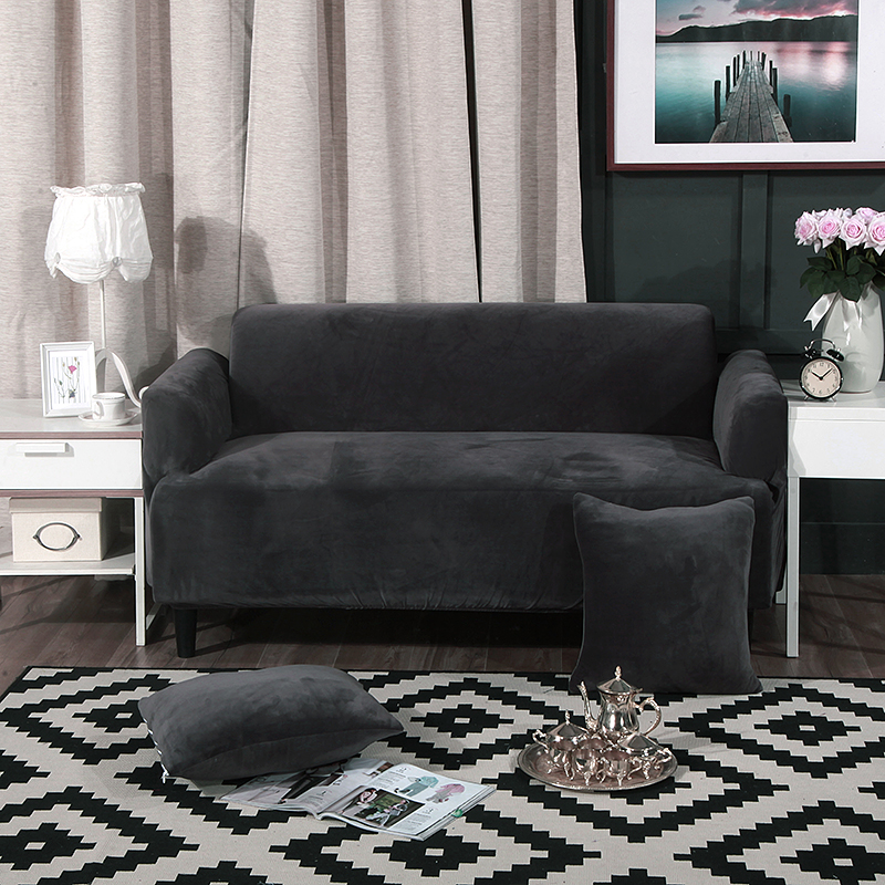 fashionable grey pure color sofa cover universal elastic armchair protetor covers couch stretch. Black Bedroom Furniture Sets. Home Design Ideas