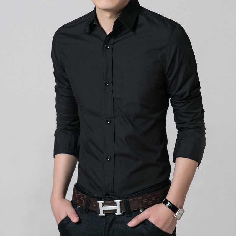 New fashion solid black and white summer men shirts men 39 s for Black shirt business casual