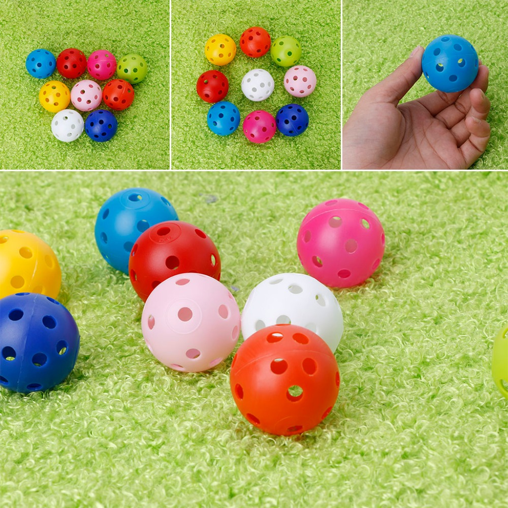 1Pcs Hollow Colorful Golf Balls Kids Playing Toy Indoor Outdoor Training