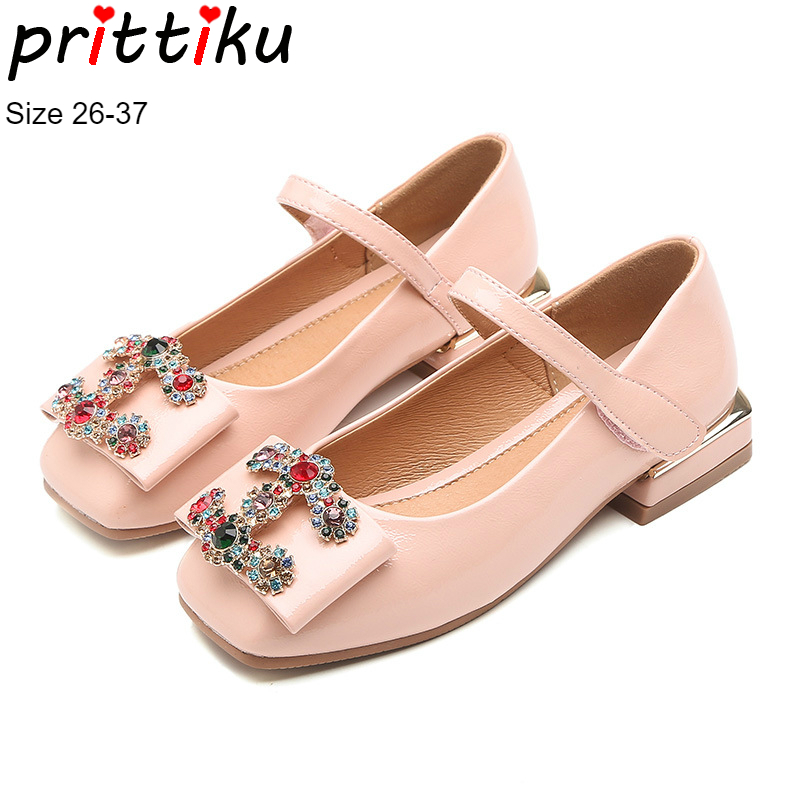 Autumn 2018 Girls Rhinestone Embellished Bow Flats Square Heels Children PU Leather Princess Dress Shoes Toddler/Little/Big Kid цена 2017